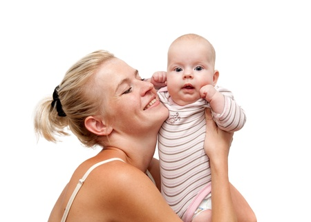happy mother and child isolated photo