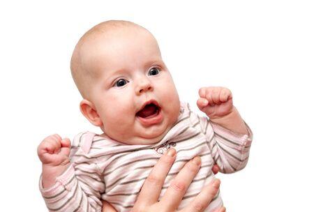 amused: amused Caucasian little baby isolated Stock Photo