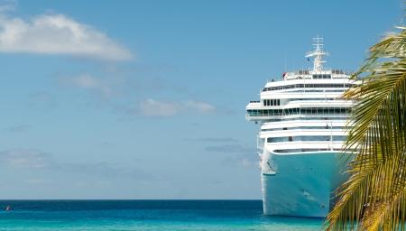 豪華クルーズ船を白し、椰子の木 写真素材