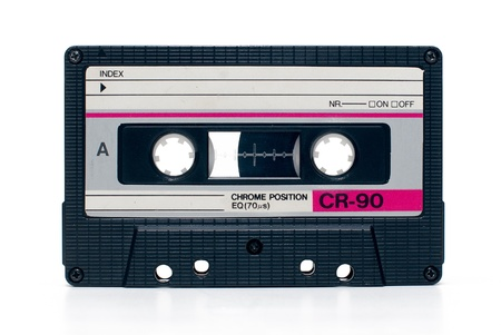 close up of vintage audio tape cassete isolated photo