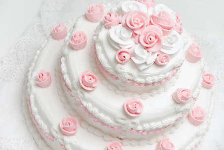 white and pink beautiful wedding cake photo