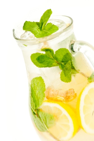 fresh lemonade from lemon ginger and mint photo