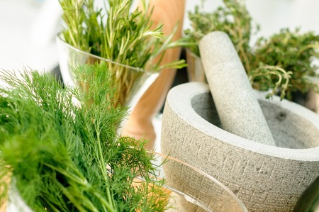 Fresh Herbs and Mortar for spices clode up Stock Photo