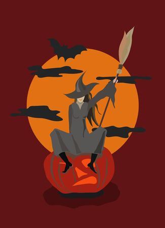 Witch sitting on a pumpkin Vector