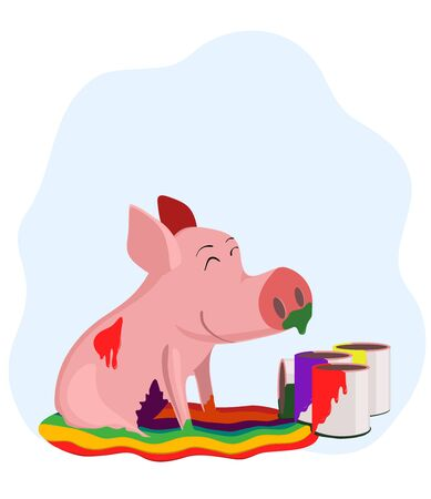 Pig in the paint Stock Vector - 12944365