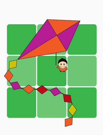 A boy with a kite, abstraction, illustration