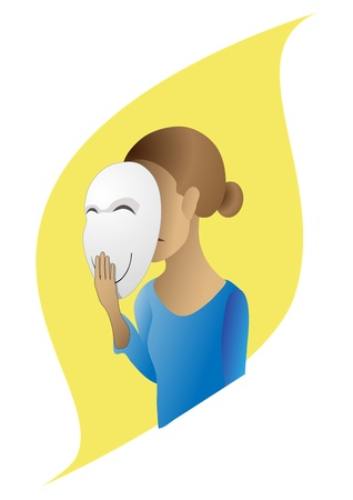 Vector image of a girl who hides his emotions under the mask Illustration