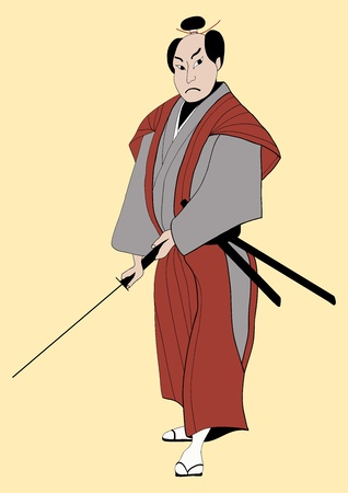 Samurai with sword in a red kimono Vector illustrations Illustration