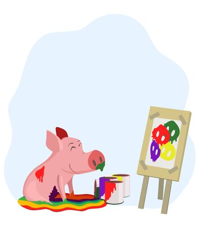 Pig which paints a picture of a pig Stock Vector - 14560616