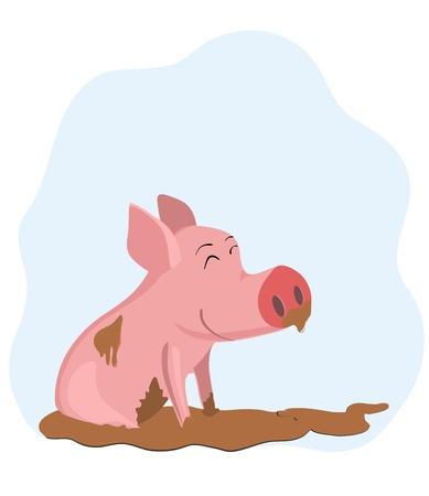 Tekening van een varken in de modder