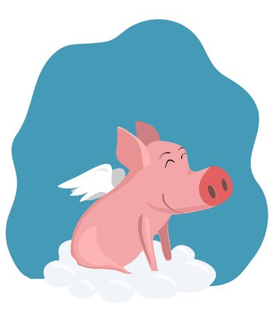 vector drawing a pig with wings on a cloud