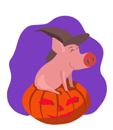 spoof: vector illustration of a pig on a pumpkin