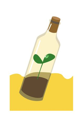 Sprout in the bottle  drought  ecology  vector drawing Illustration