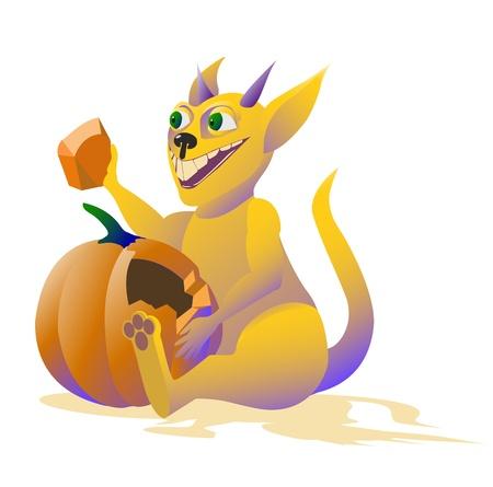 Cartoon yellow monster eats pumpkin  Vector illustration