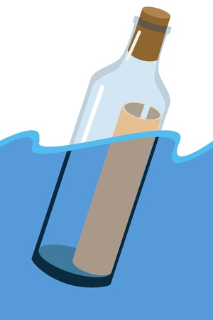 Message in a bottle on the water surface  Vector file  Illustration