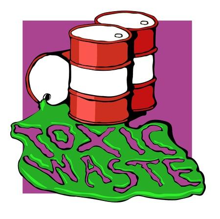 toxic barrels: barriles de desechos t�xicos. ilustraci�n vectorial