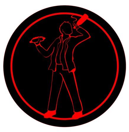 sign of man smoking, drinking & eating Illustration