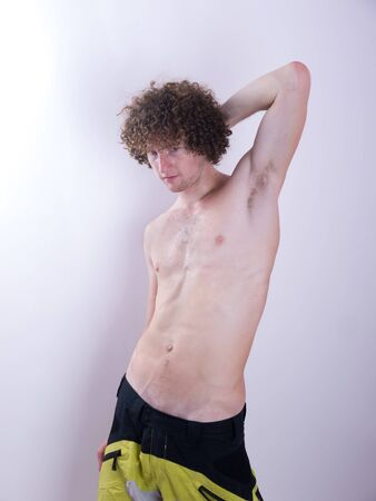 Man with curly hair photo