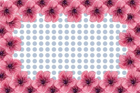 Lot of Artificial flowers isolated on white background frame Stock Photo