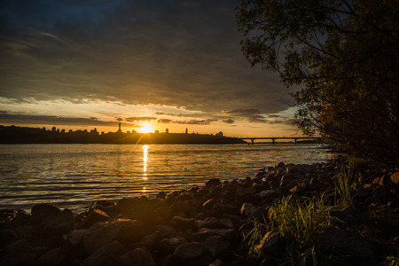 dnipro: View on the Drepr Dnieper Dnipro river and cityscape at evening in Kiev, Ukraine