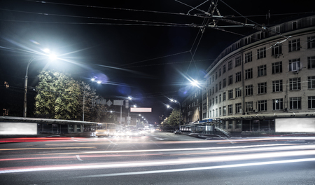 night city view of Kiev road with buildings Stock Photo