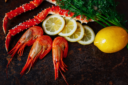 Beautiful shrimp with crab meat lemon and greens Stock Photo