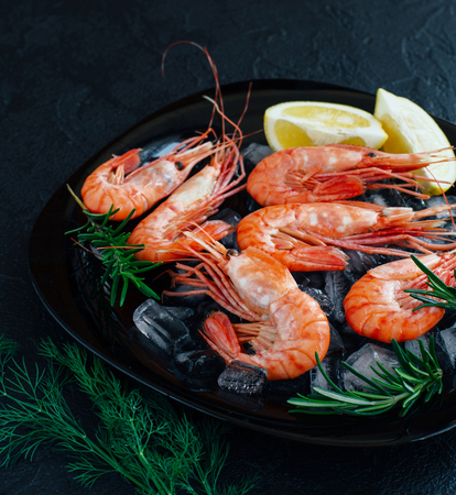 Prawns with lemon slices on ice on dark stone background, top view