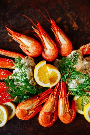 Shrimps with crab meat Stock Photo