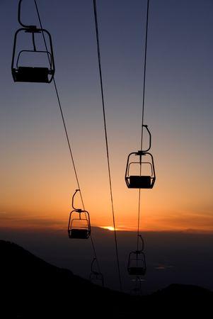 rope road in mountain on sundown photo