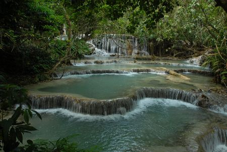 Tropical Waterfalls, South East Asia. Laos. Indo-China