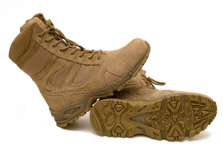army boots: Pair of army boots, a protector on a sole Stock Photo