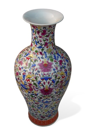 ceramic chinese vase with beautiful pattern on white background photo