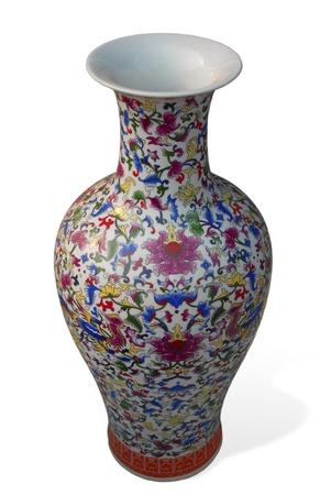 porcelain flower: ceramic chinese vase with beautiful pattern on white background Stock Photo