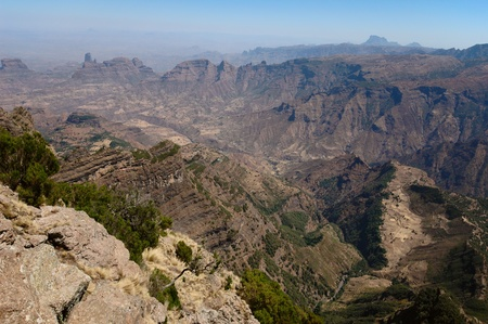 panorama of the mountain valley in ethiopia