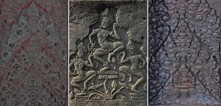angor: Dancing Apsaras an old Khmer art carvings on the wall in Angor Wat temple near Siem Reap town, Cambodia Stock Photo