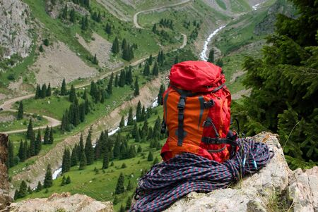 rucksack and rope on background of the mountain valley Stock Photo - 12652981