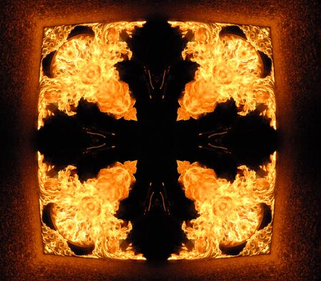 burning cross in tunnel, abstract background