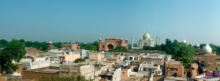 India  Panorama of the old city of Agra with view at Taj Mahal