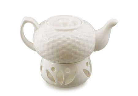 white porcelain teapot on white background