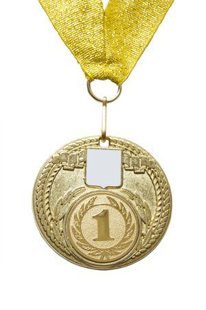 Gold en  medal is insulated on white background photo