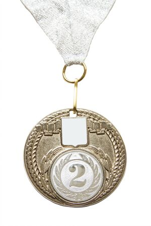 Silver medal isolated on a white background photo