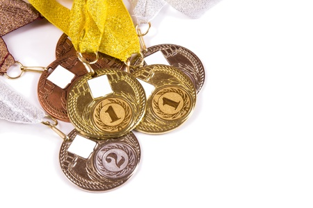 The complete set of medals on a white background with a place for your logo photo