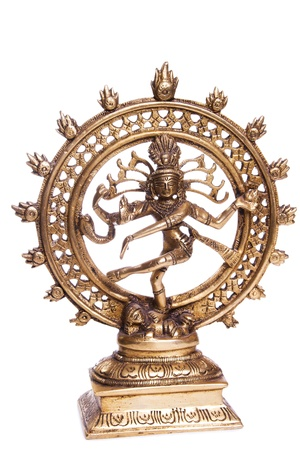 Bronze figurine dancing Shiva, on a white background