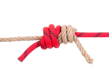 Strong knot from an old and new cord Stock Photo