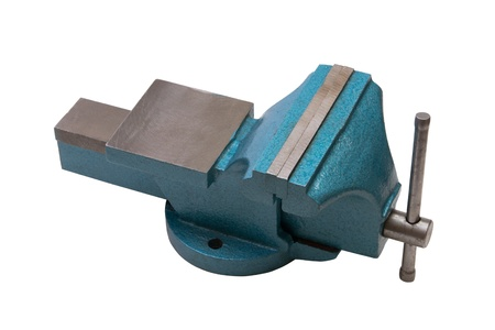 Table vise clamp on white background