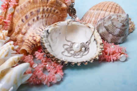 Jewelry pearls and corals from sea depths Stock Photo