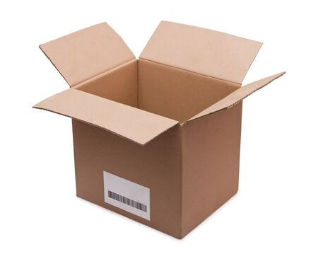 Open cardboard box with a bar code on a white background