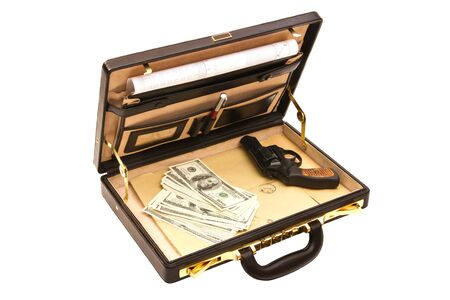 Open case, inside there is a letter, money and the gun photo