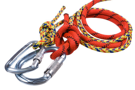 climbing equipment, two ropes and two carbines on a white background
