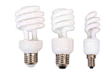 Three fluorescent light bulb on a white background